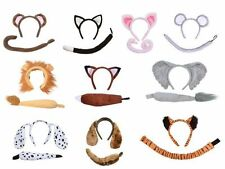 ANIMAL COSTUME EARS TAIL SET HEADBAND BOW PARTY KIDS ADULTS FANCY DRESS KIT B4