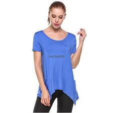 Women's Short Sleeve Solid Asymmetrical Pocket Casual T-Shirt CLSV