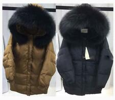 NWT Women's Hoodie 100% Real Fur Black Collar Down Jacket Warm Parka Casual Coat