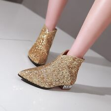 Womens Sequin Stylish Pointy Toe Ankle boots Zip back Low heel Shoes Plus Size