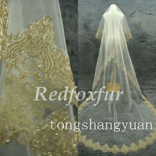 New Champagne Gold Bridal Wedding Veil Ivory 1 Layer Cathedral Without Comb