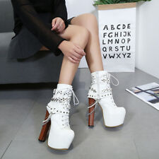 Womens High Heel Rivet Metal Chain Punk Motorcycle Ankle Boots Platform Shoes