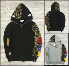 NWT Men's Hoodie Camo Sleeve Shark Icon Bape Zipper a bathing ape Casual Jacket