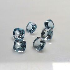 4MM TO 8 MM CUSHION NATURAL SKY BLUE TOPAZ LOOSE GEMSTONE FACETED CUT BRAZILIAN