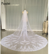 Cathedral Length Lace Edge Bride Wedding Bridal Veil 3M Long Trails Accessories