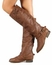 Breckelle Outlaw-11 New Women Leatherette Buckle Riding Knee High Tan Boot