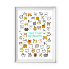 NEW The time is meow A4 unframed print Women's by Today Sunshine