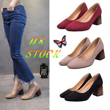 UK Women's Court Shoes Block Heels Party Pumps Office Ladies Slip On Work Shoes