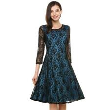 Women Plus Sizes Round Neck Long Sleeve Hollow Floral Lace Short Dress OO55