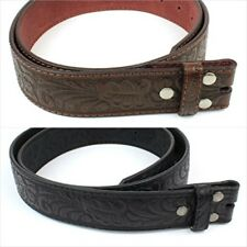 """Leather Belt Strap Embossed Western Scrollwork 1.5"""" Wide with Snaps Size 30 - 42"""