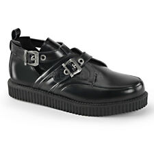 Demonia CREEPER-615 Men's Black Leather Platform Cutout Design Buckle Creepers