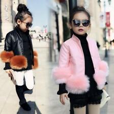 New Fashion Girl Kids Leather Jacket Maomao Hem Warm Autumn winter Coat Clothes