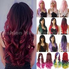 Fashion Colorful Hair Wig Long Wavy Curly Cosplay Costume Women Synthetic Wig lo