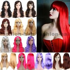 Long Wavy Straight Cosplay Hair Wig With Bangs Women Disco Anime Party Full Wigs
