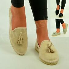 New Womens Slip On Canvas Espadrilles Flat Pumps Tassel Loafer Shoes Size Uk 3-8