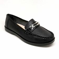 Women's Black Color Faux Leather Loafer with Buckle Detail