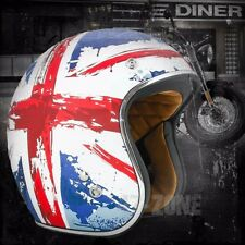 Torc Route 66 T50 Flat White Red Blue UK Flag 3/4 Open Face Motorcycle Helmet