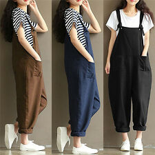 Women Casual Loose Pants Cotton Jumpsuit Strap Harem Trousers Overalls Rompers .