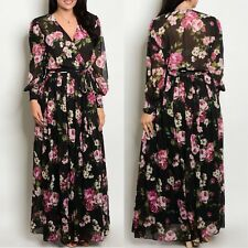Plus Maxi Dress Floral Magenta Chiffon Sheer Wrap Print Long Sleeve Wrap Sweep