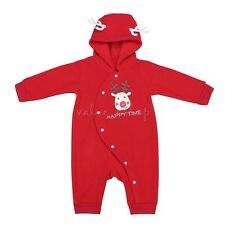 Baby Boys Girls Christmas Reindeer Hooded Bodysuit Romper Jumpsuit 6-24 Months