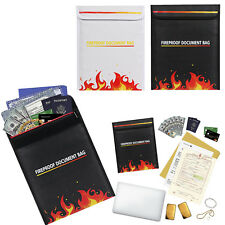 Waterproof Document Fire Resistant Pouch Storage Safe Bag Fiberglass Cover