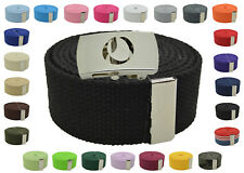 """Canvas Military Web Belt & BIG """"O"""" Silver Buckle 48, 54, 60, 72 Inches 25 Color"""