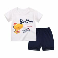Baby Summer 2 Piece Cotton Fabric T Shirt +pant Clothing Set RR1180