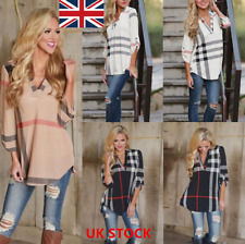 UK Women V Neck Long Sleeve Plaid T-Shirt Casual Loose OL Office Blouse Tops