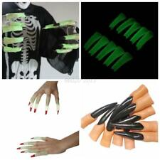 AU 10pcs Halloween Liminous Fake Finger Nails Party Cosplay Witch Prop Nail Set