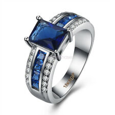 18K White Gold Plated Sapphire Crystal Engagement Ring Women Jewelry R086