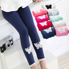 Kids Girls Tight Pants Lace Butterfly Warm Stretchy Leggings Trousers FF