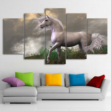 Animal White Horse Unicron Painting Wall Modern Poster Canvas Art Home Decor