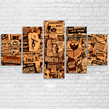 Vintage Halloween Newspaper Paintings Abstract Poster Canvas Wall Art Home Decor