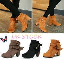 UK Women Buckle Chunky Boot Faux Suede High Closed Ankle Boots Party Block Heels