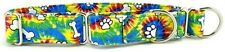 Tie Dye Bones & Paws Martingale Pet Dog Collar
