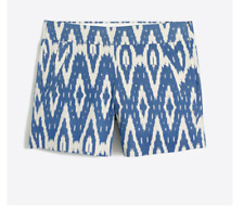 J Crew Women's Ikat/Aztec Print Chino Shorts City Fit White/Blue #G2319  NWT