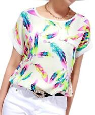 Women O-Neck Chiffon Batwing-Sleeve Casual T-shirt Loose Top Blouse Short Sleeve