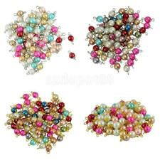 50pcs Assorted Mixed Color Round Glass Pearl Loose Beads Daisy Flower Cap