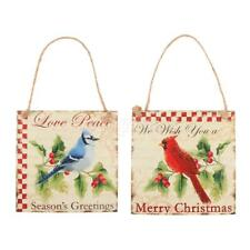 Vintage Merry Christmas Wooden Plaque Board w/ Bird Xmas Home Wall Hanging Sign