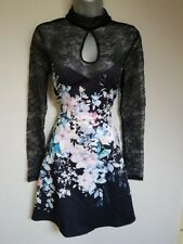 BNWT New LIPSY Black Pink Floral Scuba Lace Long Sleeve Skater Dress 8 10 14 £58