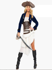 Caribbean Pirate Costume Halloween Ladies Swashbuckler Fancy Dress Outfit 8850#