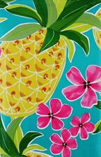 ASSORTED SIZES Summer Vinyl Tablecloth PINEAPPLES Flowers TROPICAL Luau Blue