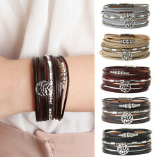 Chrismas Snowflake Bracelet Leather Wrap Bangle Multilayer Crystal Wristband