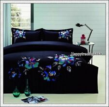 400TC 100% Cotton Black Turquoise Embroidery KING QUEEN QUILT DOONA COVER SET