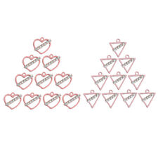 10pcs Pink Alloy Rhinestone Charms Bead Pendant Jewelry Findings Heart/Triangle