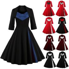 Women's Bowknot 1950's Vintage Style Rockabilly Retro Evening Party Swing Dress