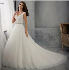 New White Ivory Lace Ball Gown Wedding Dress Bridal Gowns Size 6 8 10 12 14 16 M