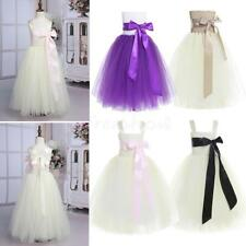 Kids Girls Bow Tulle Flower Dress Princess Pageant Graduation Party Formal Dress