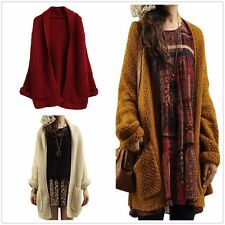 Womens Loose Knitted Sweater Batwing Long Sleeve Tops Cardigan Outwear Coat New