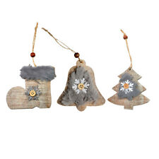 Cute Wood Plush Christmas Tree Hanging Ornaments Holiday Xmas Decoration